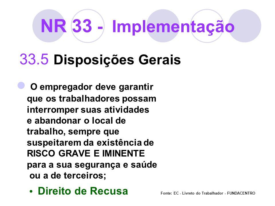 NR 33 - Implementação 33.5 Disposições Gerais O empregador deve garantir que os trabalhadores possam interromper suas atividades e abandonar o local d