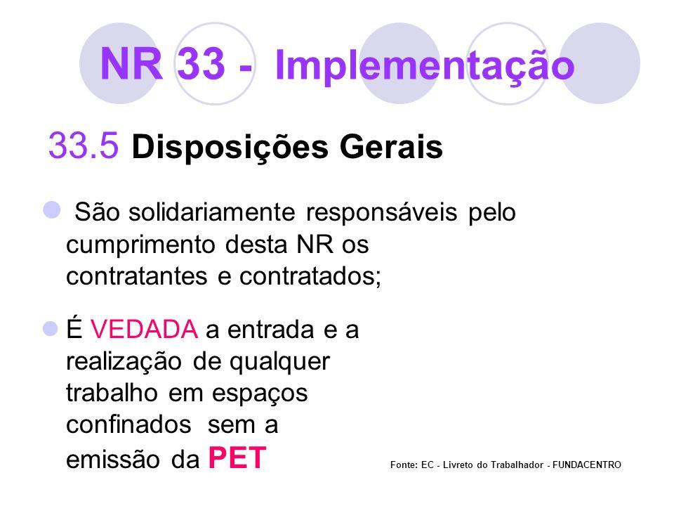 NR 33 - Implementação 33.5 Disposições Gerais São solidariamente responsáveis pelo cumprimento desta NR os contratantes e contratados; É VEDADA a entr