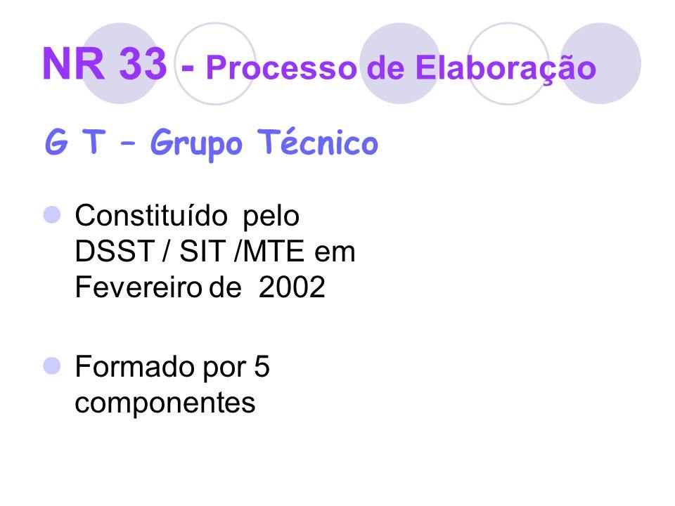 NR 33 - Processo de Elaboração G T – Grupo Técnico Constituído pelo DSST / SIT /MTE em Fevereiro de 2002 Formado por 5 componentes