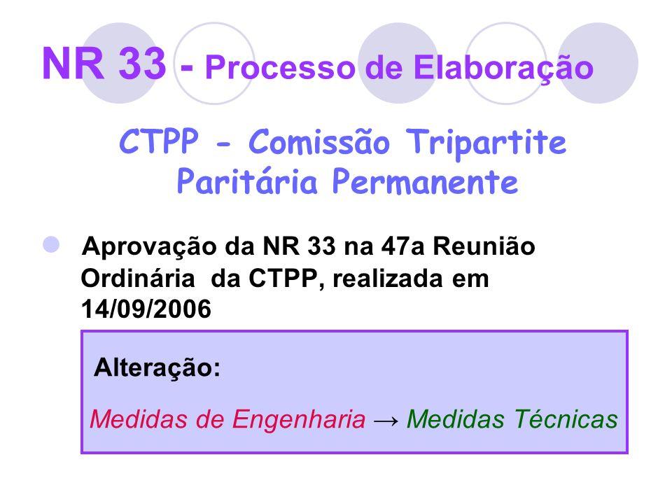 NR 33 - Processo de Elaboração CTPP - Comissão Tripartite Paritária Permanente Aprovação da NR 33 na 47a Reunião Ordinária da CTPP, realizada em 14/09