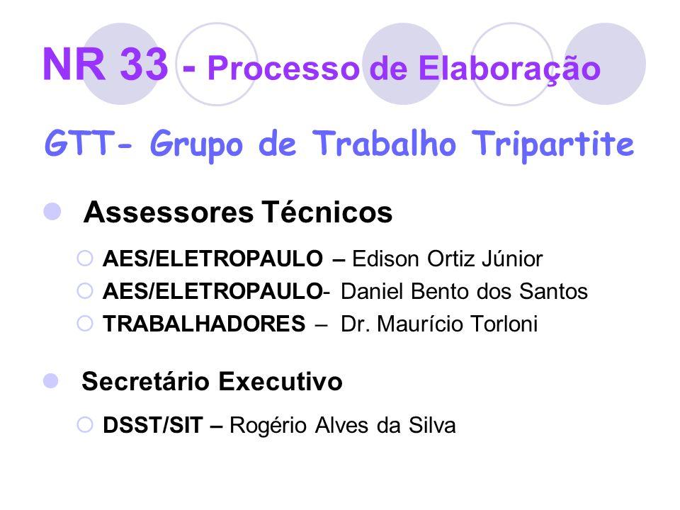 NR 33 - Processo de Elaboração GTT- Grupo de Trabalho Tripartite Assessores Técnicos AES/ELETROPAULO – Edison Ortiz Júnior AES/ELETROPAULO- Daniel Ben