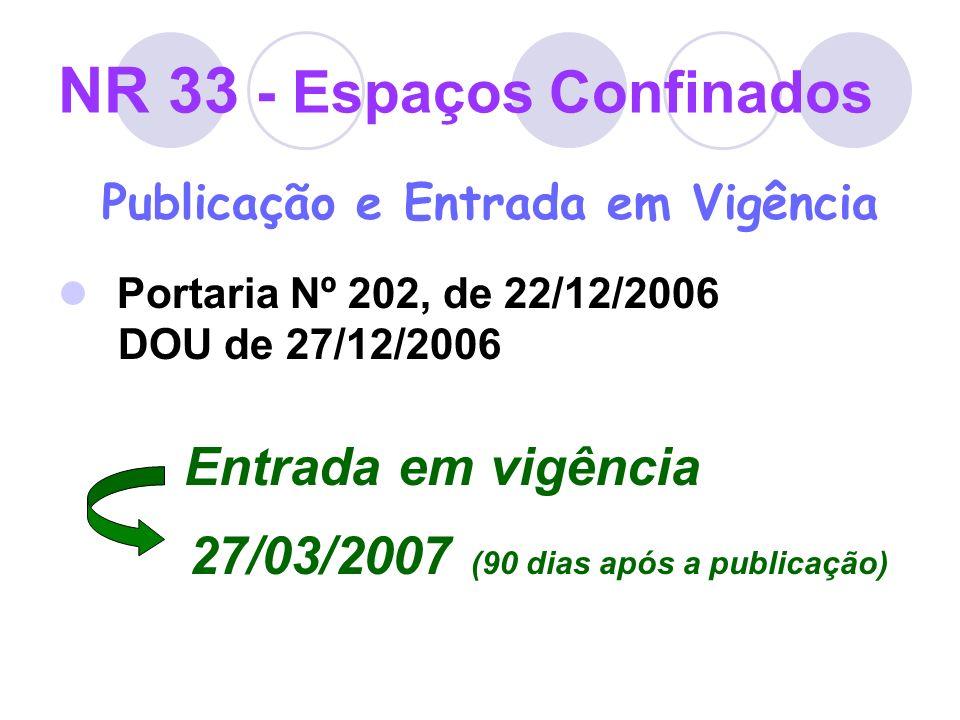 NR 33 - Espaços Confinados Publicação e Entrada em Vigência Portaria Nº 202, de 22/12/2006 DOU de 27/12/2006 Entrada em vigência 27/03/2007 (90 dias a