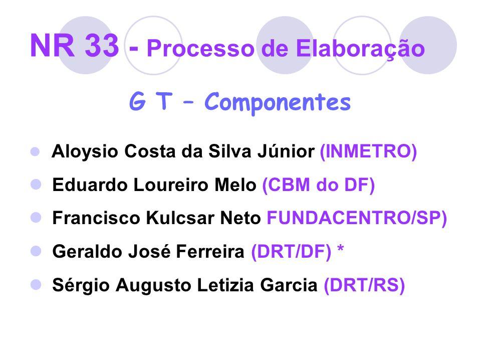 NR 33 - Processo de Elaboração G T – Componentes Aloysio Costa da Silva Júnior (INMETRO) Eduardo Loureiro Melo (CBM do DF) Francisco Kulcsar Neto FUND