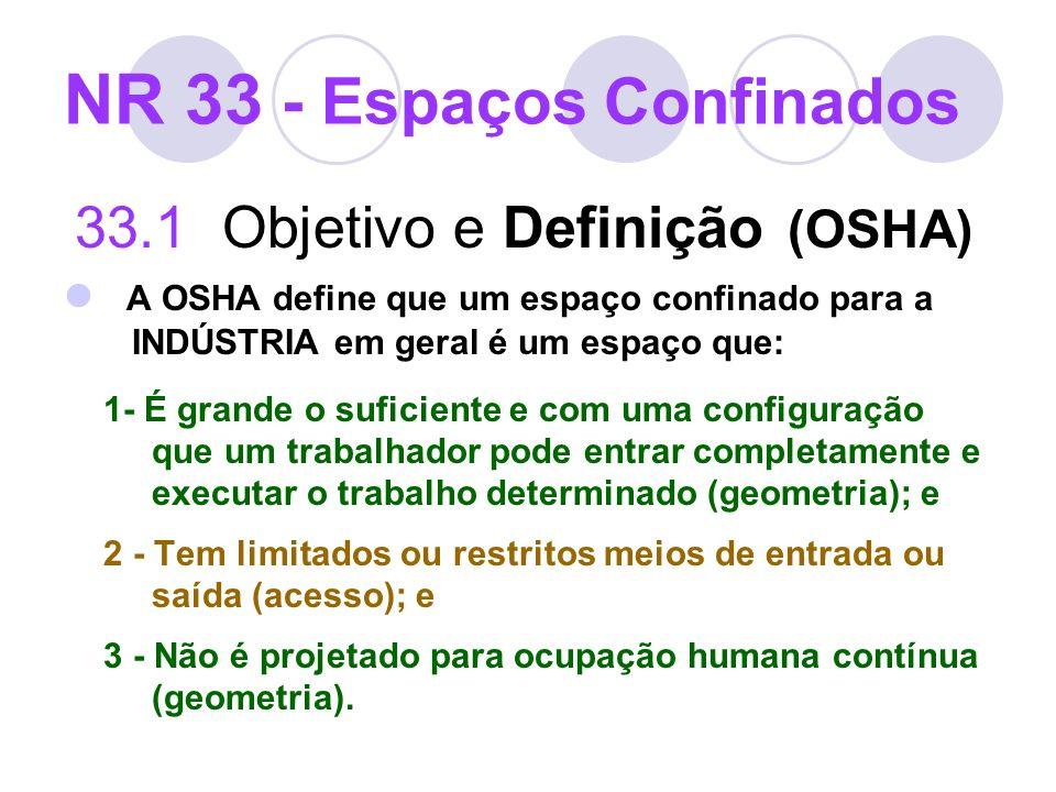 NR 33 - Espaços Confinados 33.1 Objetivo e Definição (OSHA) A OSHA define que um espaço confinado para a INDÚSTRIA em geral é um espaço que: 1- É gran