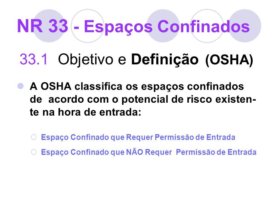 NR 33 - Espaços Confinados 33.1 Objetivo e Definição (OSHA) A OSHA classifica os espaços confinados de acordo com o potencial de risco existen- te na