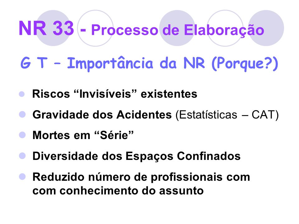 NR 33 - Processo de Elaboração G T – Itens mais discutidos Definição de espaços confinados Designação de Responsável Técnico Desvinculação com a NR 9 Classificação dos Espaços Confinados Medidas mínimas de segurança Emissão da PET (FPE na época)