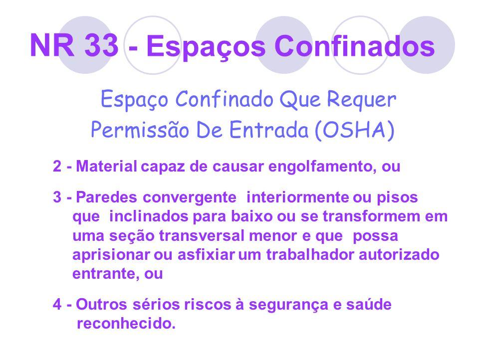 NR 33 - Espaços Confinados Espaço Confinado Que Requer Permissão De Entrada (OSHA) 2 - Material capaz de causar engolfamento, ou 3 - Paredes convergen