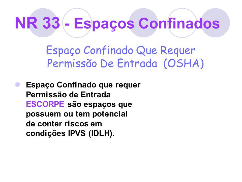 NR 33 - Espaços Confinados Espaço Confinado Que Requer Permissão De Entrada (OSHA) Espaço Confinado que requer Permissão de Entrada ESCORPE são espaço