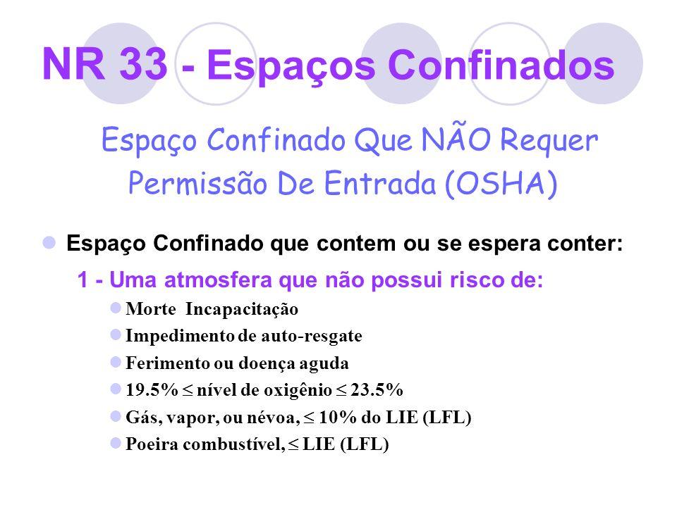 NR 33 - Espaços Confinados Espaço Confinado Que NÃO Requer Permissão De Entrada (OSHA) Espaço Confinado que contem ou se espera conter: 1 - Uma atmosf