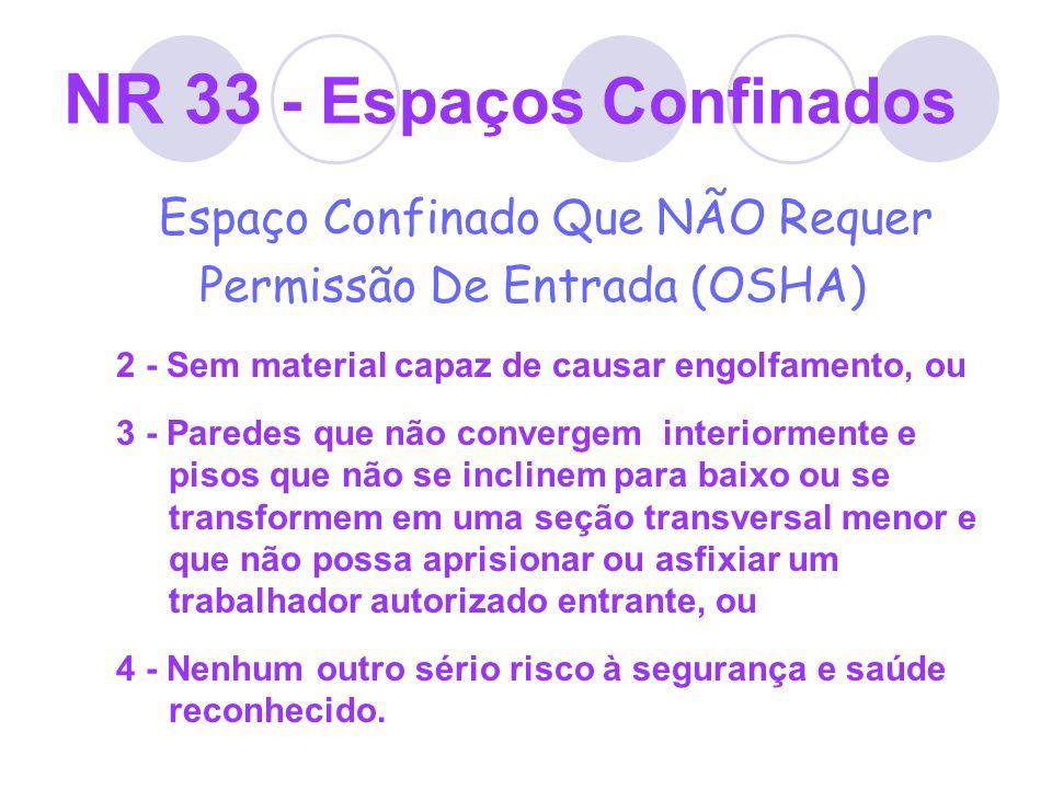 NR 33 - Espaços Confinados Espaço Confinado Que NÃO Requer Permissão De Entrada (OSHA) 2 - Sem material capaz de causar engolfamento, ou 3 - Paredes q