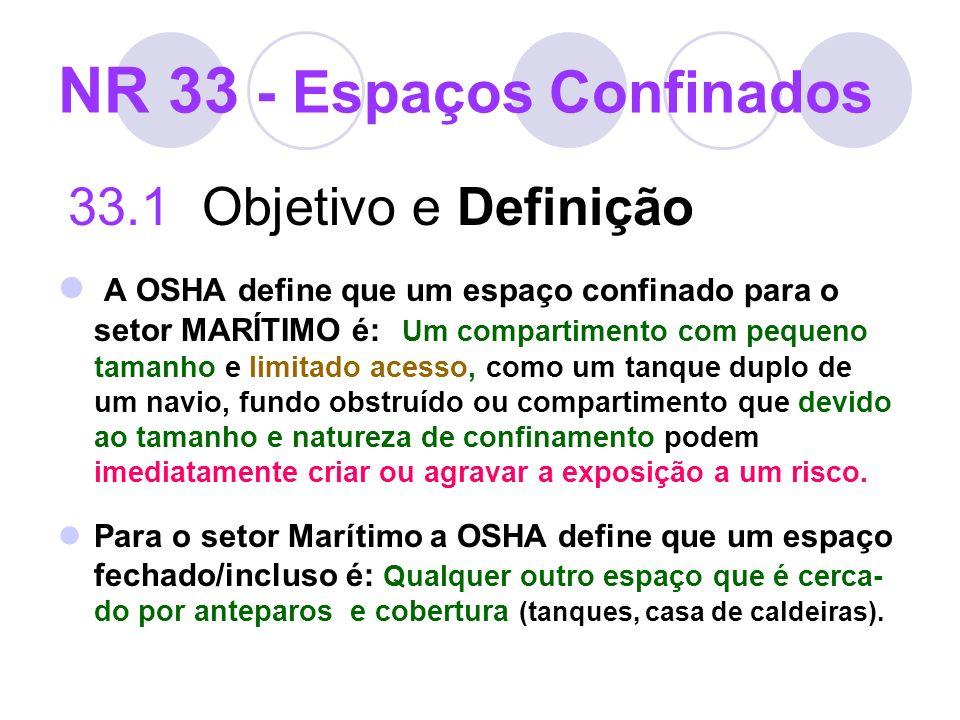 NR 33 - Espaços Confinados 33.1 Objetivo e Definição A OSHA define que um espaço confinado para o setor MARÍTIMO é: Um compartimento com pequeno taman