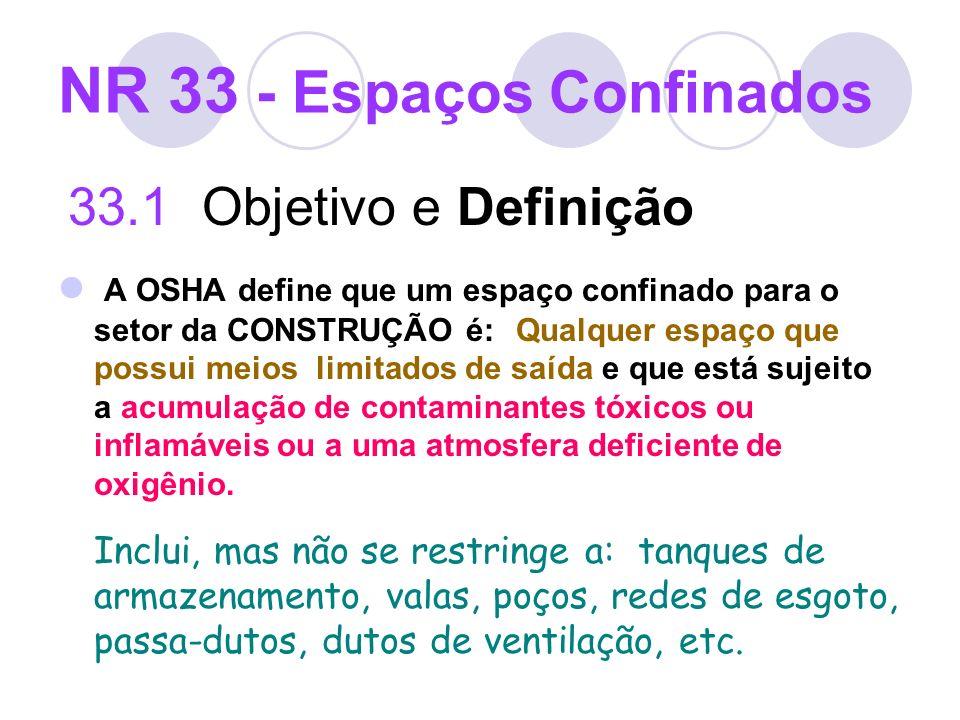NR 33 - Espaços Confinados 33.1 Objetivo e Definição A OSHA define que um espaço confinado para o setor da CONSTRUÇÃO é: Qualquer espaço que possui me
