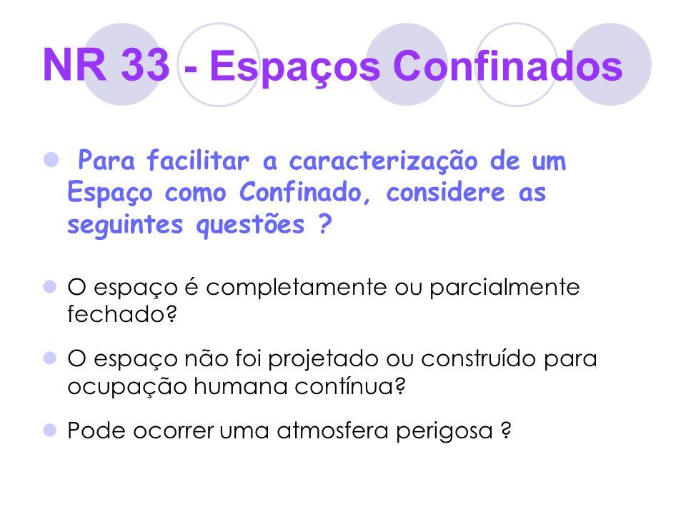 NR 33 - Espaços Confinados Para facilitar a caracterização de um Espaço como Confinado, considere as seguintes questões ? O espaço é completamente ou