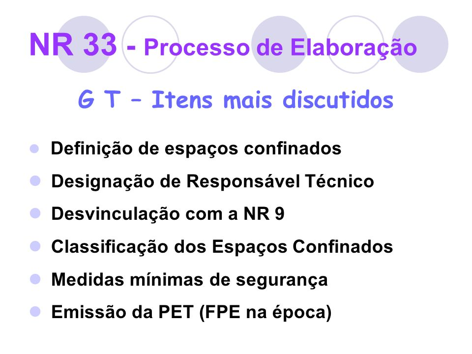 NR 33 - Processo de Elaboração G T – Itens mais discutidos Definição de espaços confinados Designação de Responsável Técnico Desvinculação com a NR 9