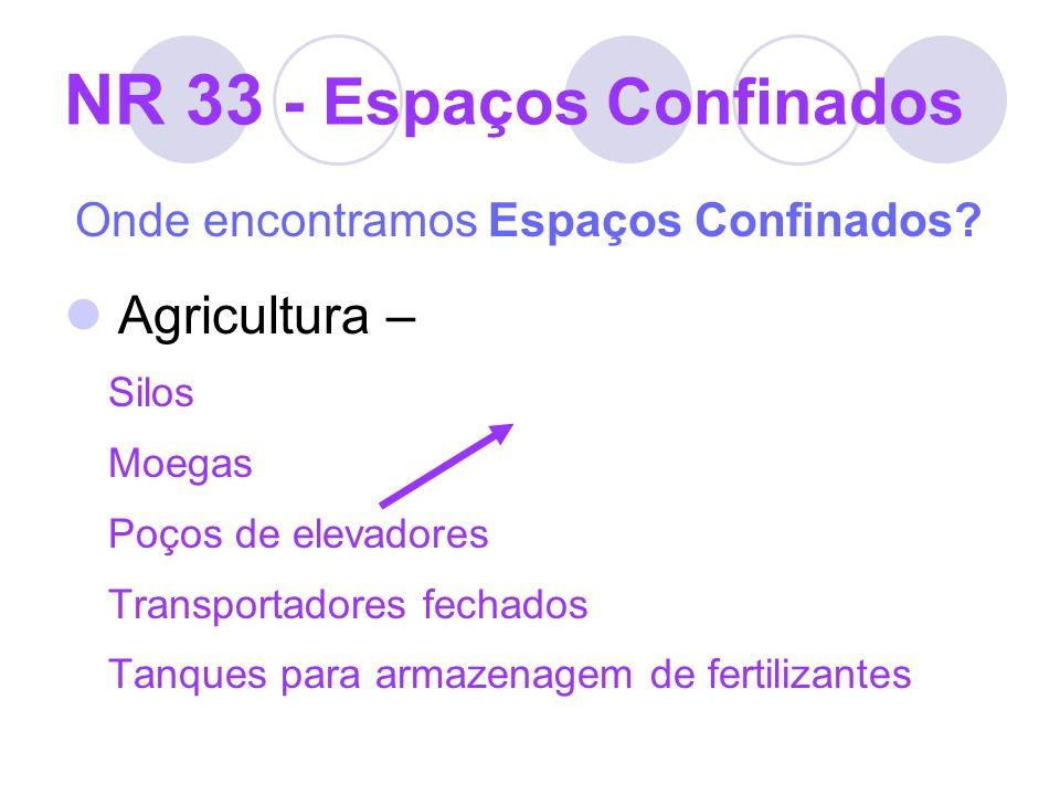 NR 33 - Espaços Confinados Onde encontramos Espaços Confinados? Agricultura – Silos Moegas Poços de elevadores Transportadores fechados Tanques para a