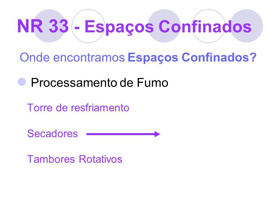 NR 33 - Espaços Confinados Onde encontramos Espaços Confinados? Processamento de Fumo Torre de resfriamento Secadores Tambores Rotativos