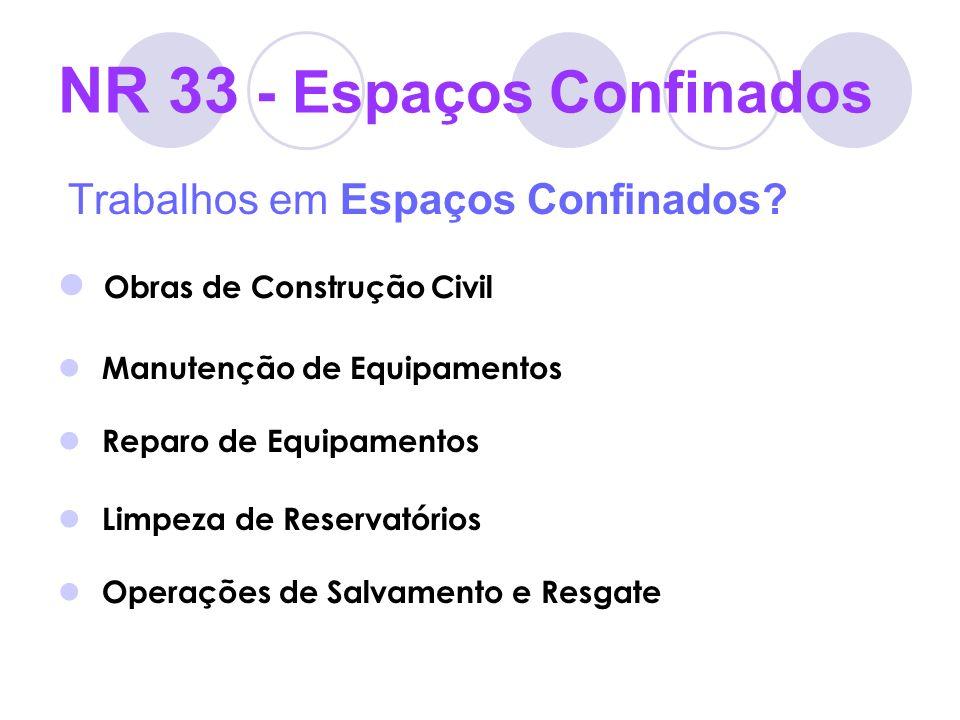 NR 33 - Espaços Confinados Trabalhos em Espaços Confinados? Obras de Construção Civil Manutenção de Equipamentos Reparo de Equipamentos Limpeza de Res