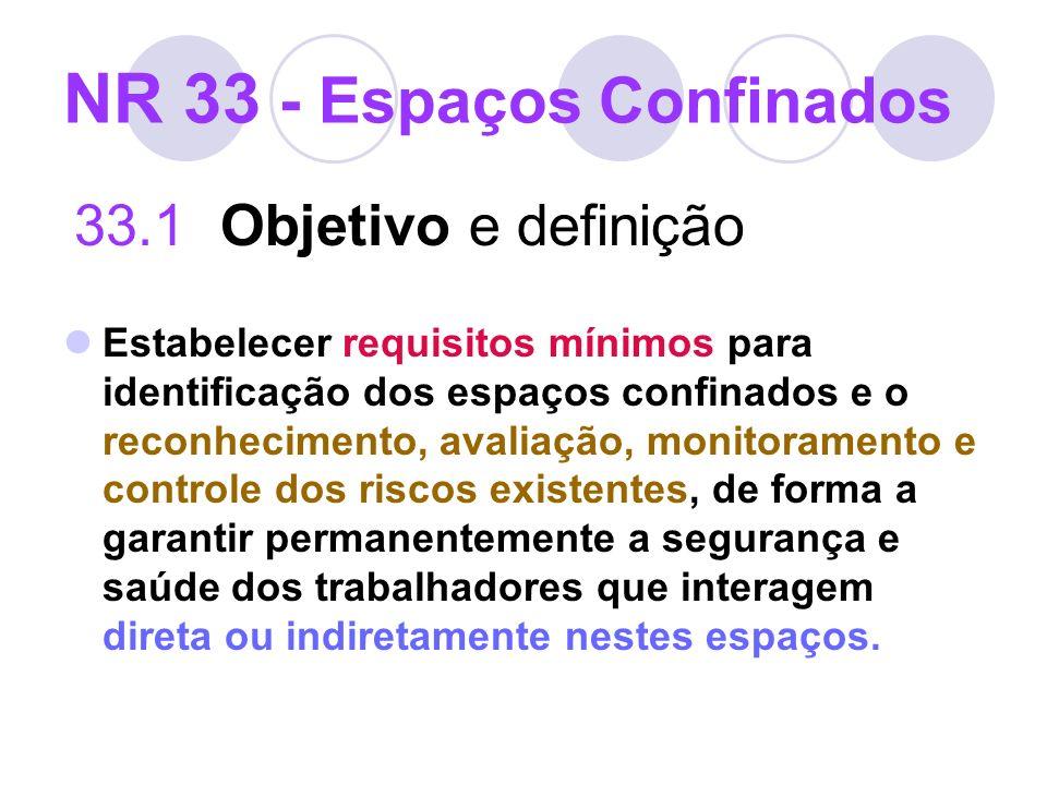 NR 33 - Espaços Confinados 33.1 Objetivo e definição Estabelecer requisitos mínimos para identificação dos espaços confinados e o reconhecimento, aval