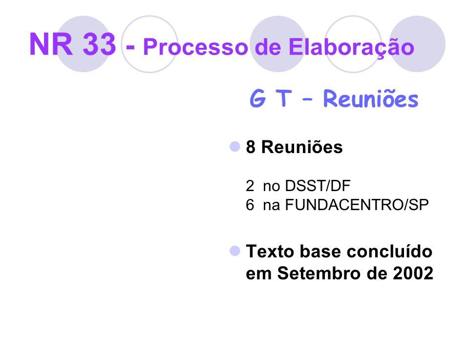 NR 33 - Processo de Elaboração G T – Reuniões 8 Reuniões 2 no DSST/DF 6 na FUNDACENTRO/SP Texto base concluído em Setembro de 2002