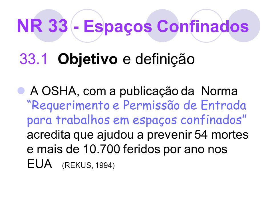 NR 33 - Espaços Confinados 33.1 Objetivo e definição A OSHA, com a publicação da Norma Requerimento e Permissão de Entrada para trabalhos em espaços c