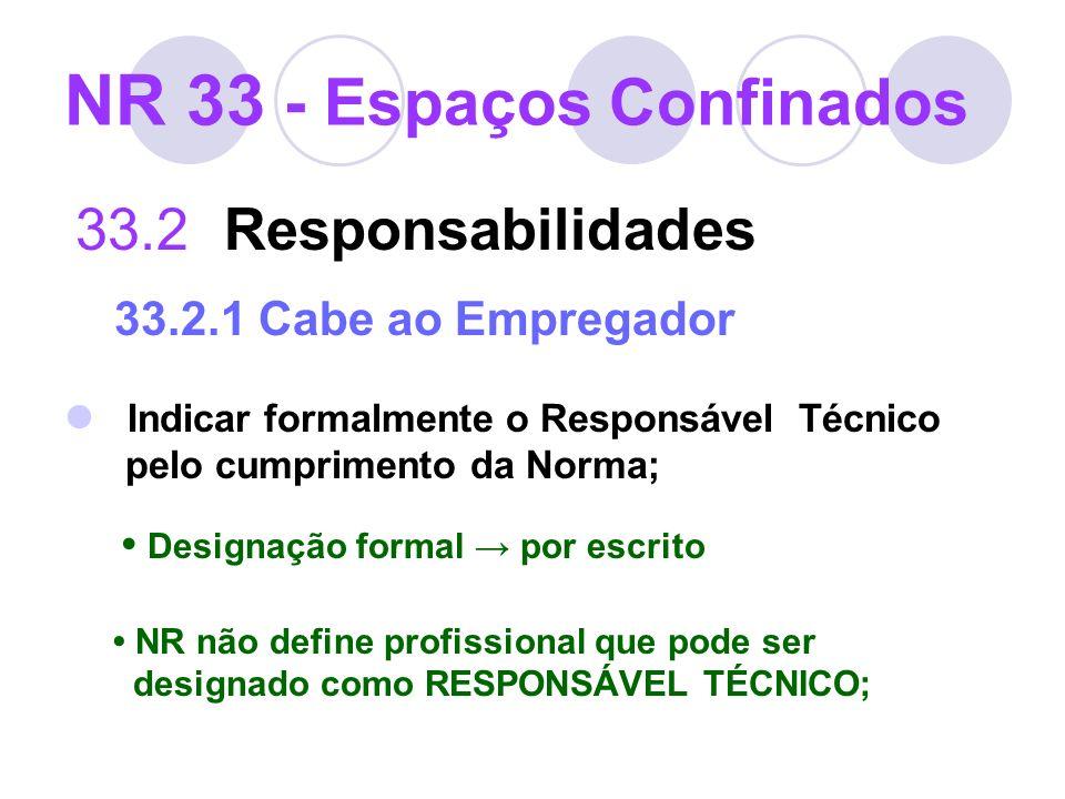 NR 33 - Espaços Confinados 33.2 Responsabilidades 33.2.1 Cabe ao Empregador Indicar formalmente o Responsável Técnico pelo cumprimento da Norma; Desig