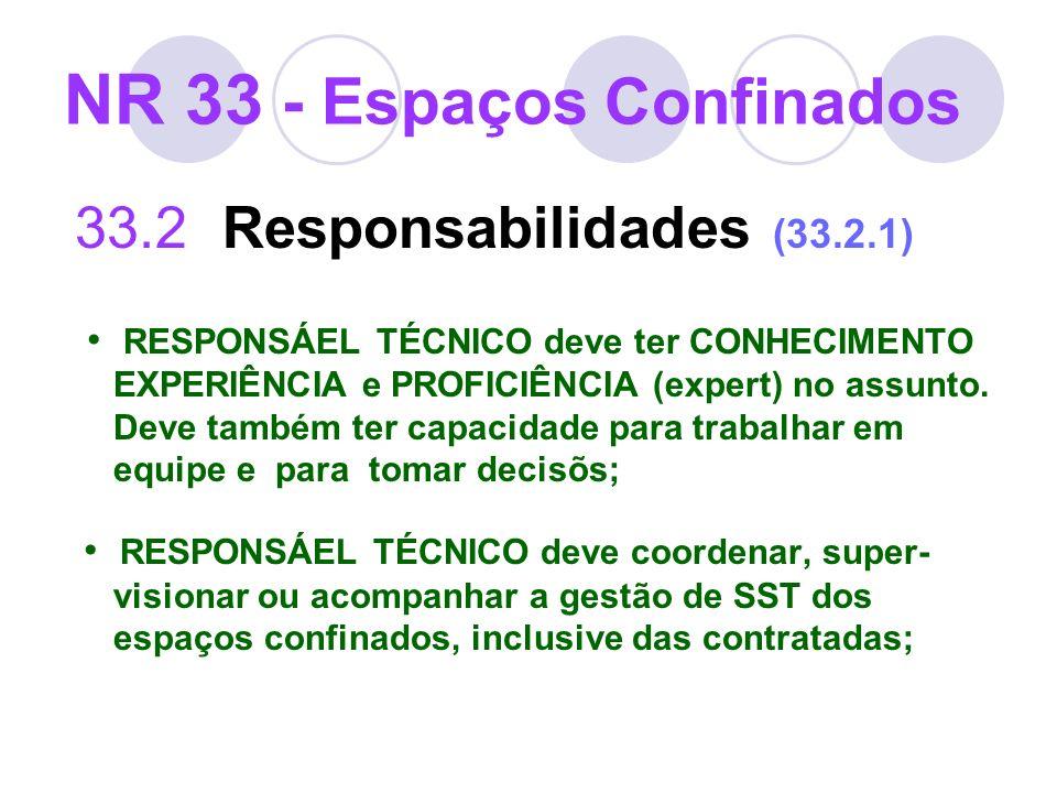 NR 33 - Espaços Confinados 33.2 Responsabilidades (33.2.1) RESPONSÁEL TÉCNICO deve ter CONHECIMENTO EXPERIÊNCIA e PROFICIÊNCIA (expert) no assunto. De