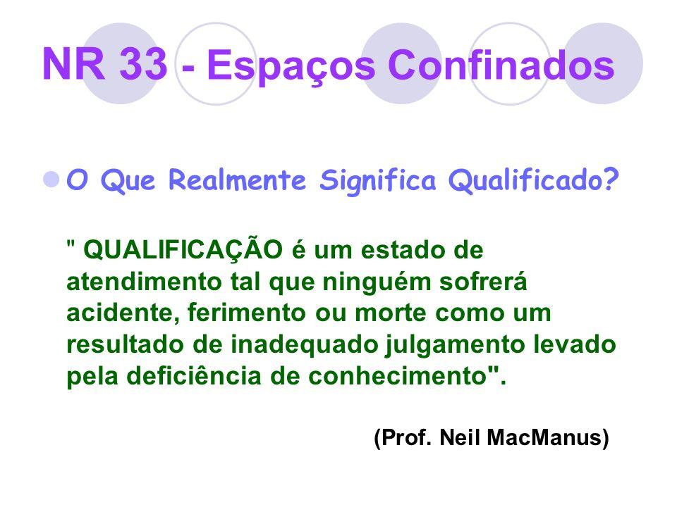 NR 33 - Espaços Confinados O Que Realmente Significa Qualificado ?