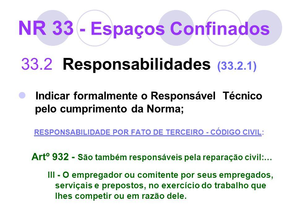 NR 33 - Espaços Confinados 33.2 Responsabilidades (33.2.1) Indicar formalmente o Responsável Técnico pelo cumprimento da Norma; RESPONSABILIDADE POR F