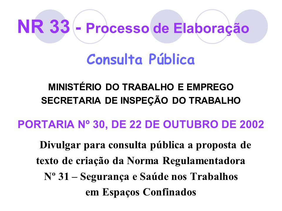 NR 33 - Processo de Elaboração Consulta Pública Portaria Nº 30, de 22/10/2002 - 90 dias para o recebimento de sugestões Portaria Nº 46, de 06/03/2003 - Prorroga por 90 dias o prazo para sugestões