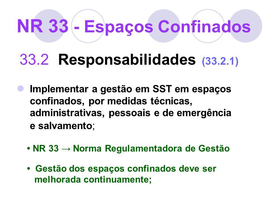NR 33 - Espaços Confinados 33.2 Responsabilidades (33.2.1) Implementar a gestão em SST em espaços confinados, por medidas técnicas, administrativas, p