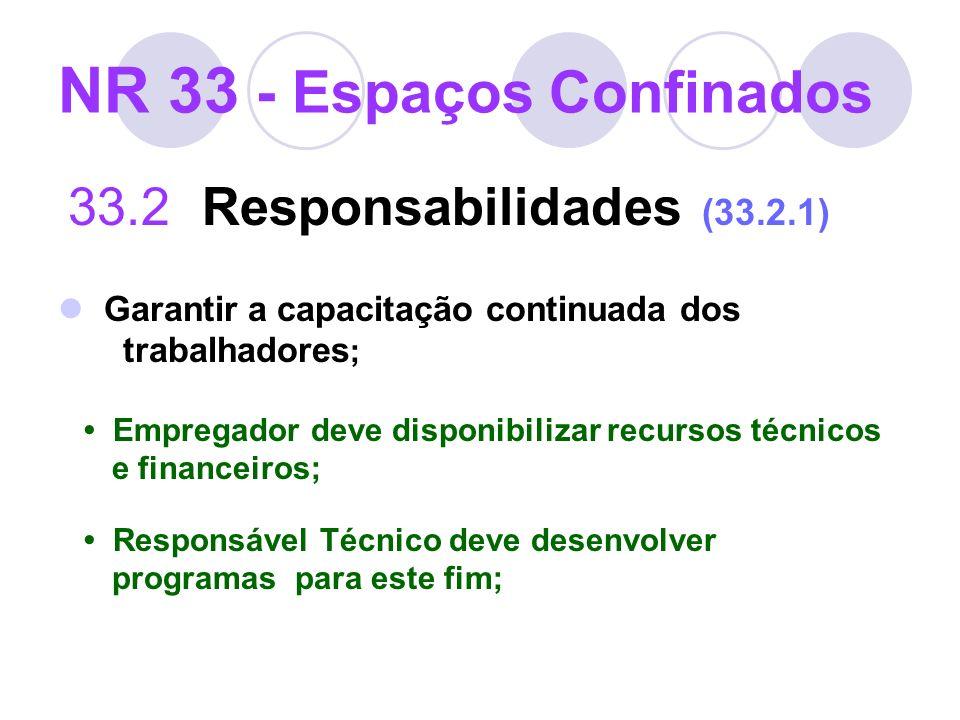 NR 33 - Espaços Confinados 33.2 Responsabilidades (33.2.1) Garantir a capacitação continuada dos trabalhadores ; Empregador deve disponibilizar recurs