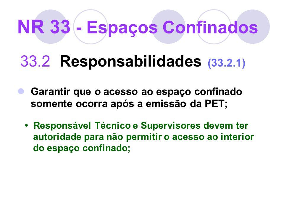NR 33 - Espaços Confinados 33.2 Responsabilidades (33.2.1) Garantir que o acesso ao espaço confinado somente ocorra após a emissão da PET; Responsável
