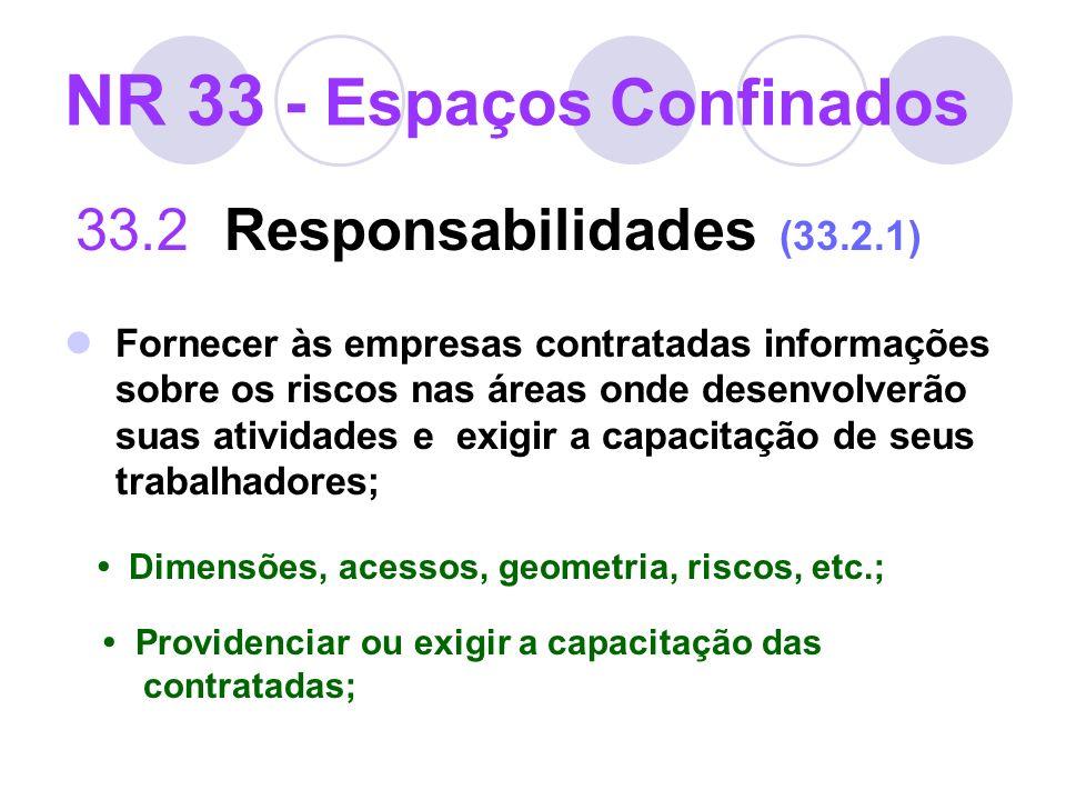 NR 33 - Espaços Confinados 33.2 Responsabilidades (33.2.1) Fornecer às empresas contratadas informações sobre os riscos nas áreas onde desenvolverão s