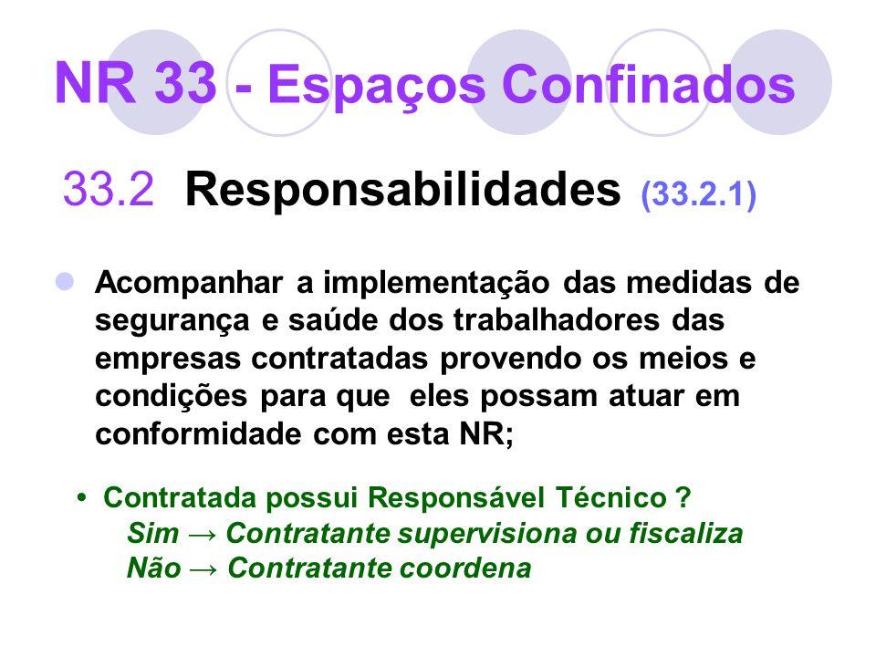 NR 33 - Espaços Confinados 33.2 Responsabilidades (33.2.1) Acompanhar a implementação das medidas de segurança e saúde dos trabalhadores das empresas