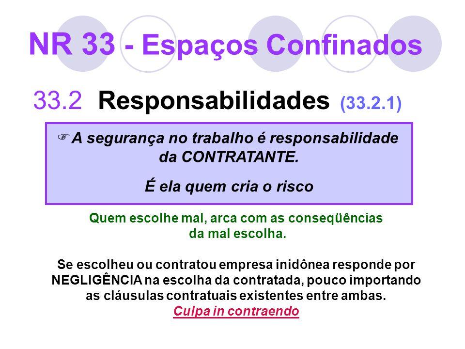 NR 33 - Espaços Confinados 33.2 Responsabilidades (33.2.1) A segurança no trabalho é responsabilidade da CONTRATANTE. É ela quem cria o risco Quem esc