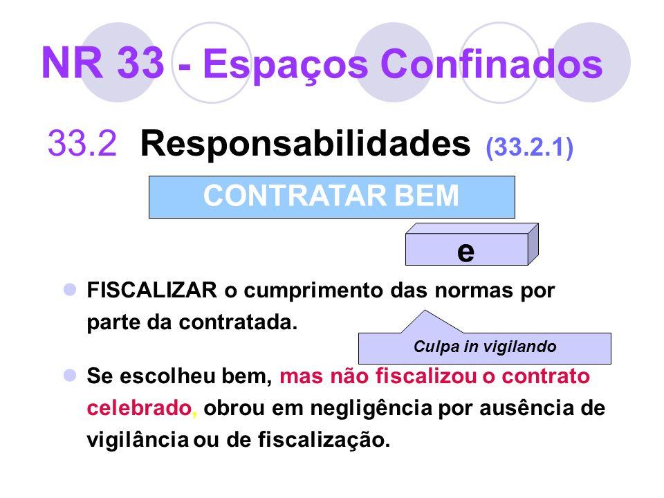 NR 33 - Espaços Confinados 33.2 Responsabilidades (33.2.1) CONTRATAR BEM e FISCALIZAR o cumprimento das normas por parte da contratada. Se escolheu be