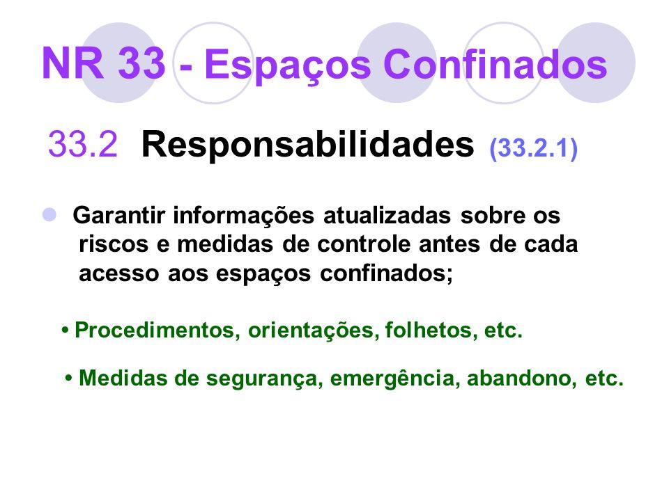 NR 33 - Espaços Confinados 33.2 Responsabilidades (33.2.1) Garantir informações atualizadas sobre os riscos e medidas de controle antes de cada acesso