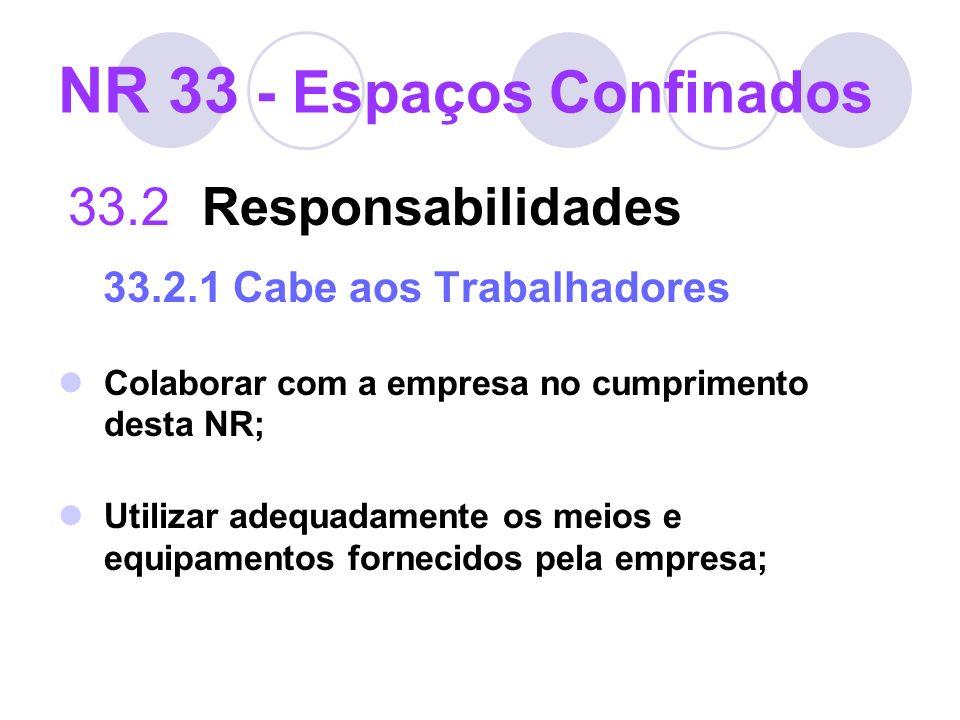 NR 33 - Espaços Confinados 33.2 Responsabilidades 33.2.1 Cabe aos Trabalhadores Colaborar com a empresa no cumprimento desta NR; Utilizar adequadament