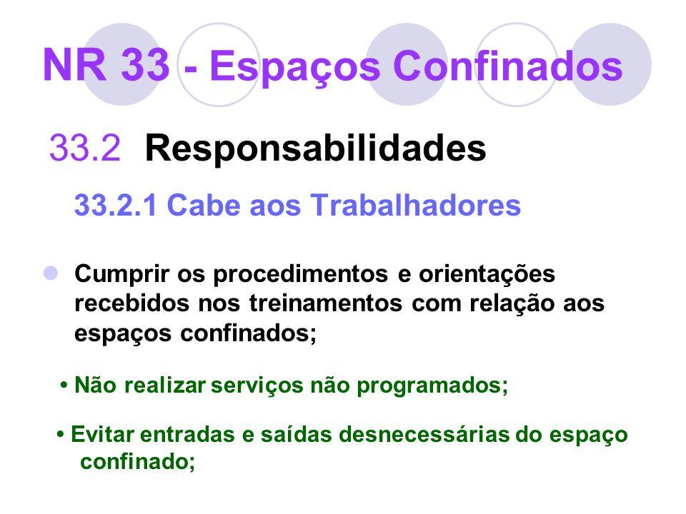 NR 33 - Espaços Confinados 33.2 Responsabilidades 33.2.1 Cabe aos Trabalhadores Cumprir os procedimentos e orientações recebidos nos treinamentos com