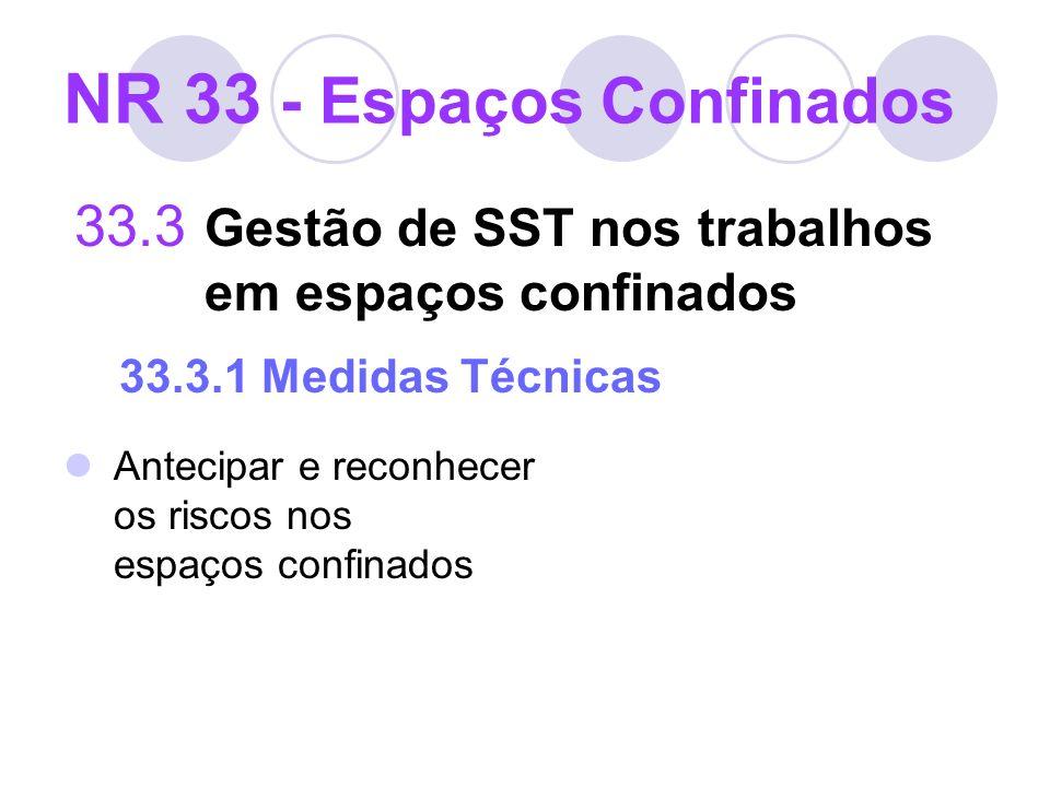 NR 33 - Espaços Confinados 33.3 Gestão de SST nos trabalhos em espaços confinados 33.3.1 Medidas Técnicas Antecipar e reconhecer os riscos nos espaços