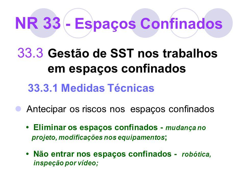 NR 33 - Espaços Confinados 33.3 Gestão de SST nos trabalhos em espaços confinados 33.3.1 Medidas Técnicas Antecipar os riscos nos espaços confinados E