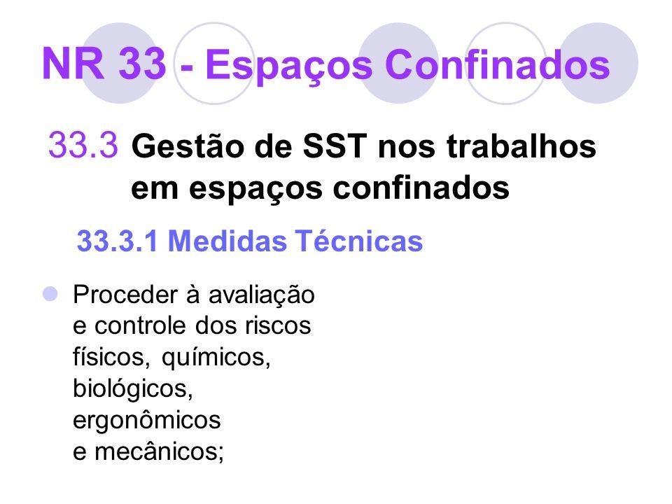 NR 33 - Espaços Confinados 33.3 Gestão de SST nos trabalhos em espaços confinados 33.3.1 Medidas Técnicas Proceder à avaliação e controle dos riscos f