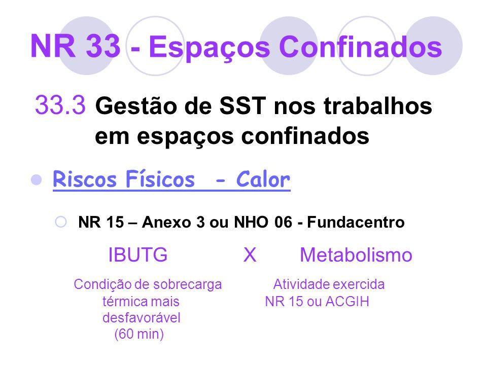 NR 33 - Espaços Confinados 33.3 Gestão de SST nos trabalhos em espaços confinados Riscos Físicos - Calor NR 15 – Anexo 3 ou NHO 06 - Fundacentro IBUTG