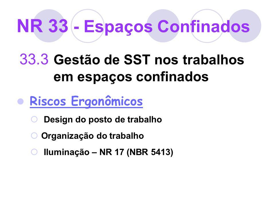 NR 33 - Espaços Confinados 33.3 Gestão de SST nos trabalhos em espaços confinados Riscos Ergonômicos Design do posto de trabalho Organização do trabal