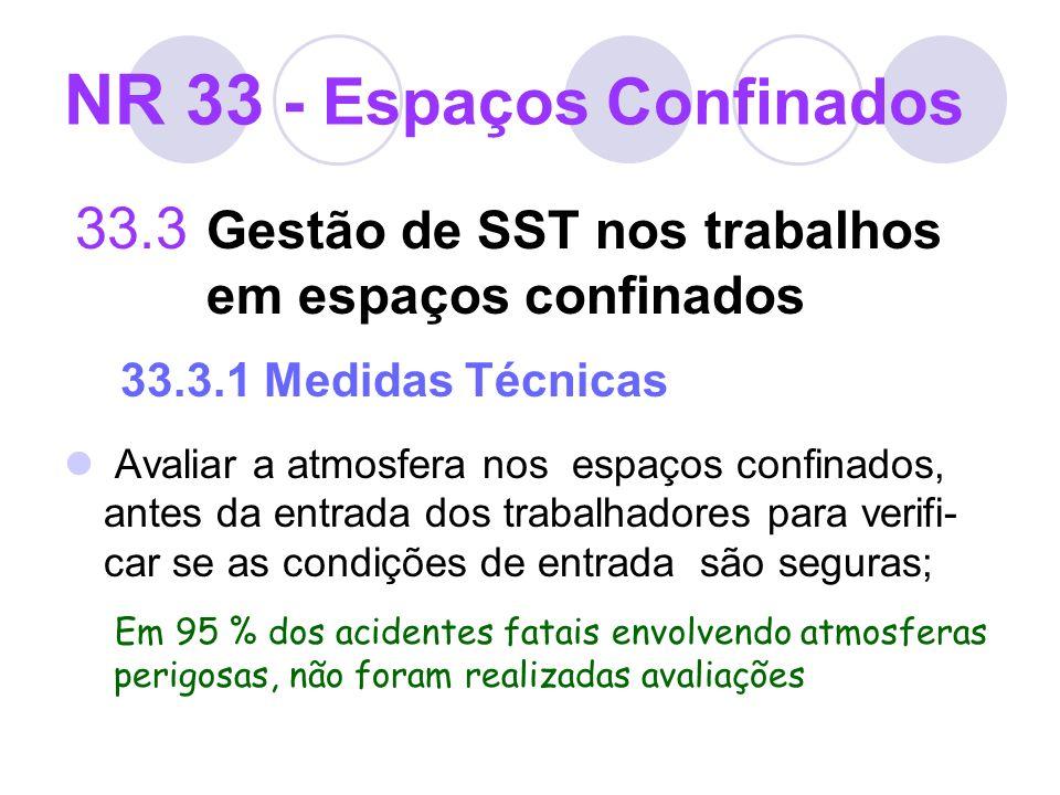 NR 33 - Espaços Confinados 33.3 Gestão de SST nos trabalhos em espaços confinados 33.3.1 Medidas Técnicas Avaliar a atmosfera nos espaços confinados,