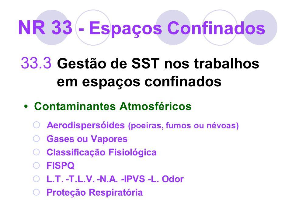 NR 33 - Espaços Confinados 33.3 Gestão de SST nos trabalhos em espaços confinados Contaminantes Atmosféricos Aerodispersóides (poeiras, fumos ou névoa