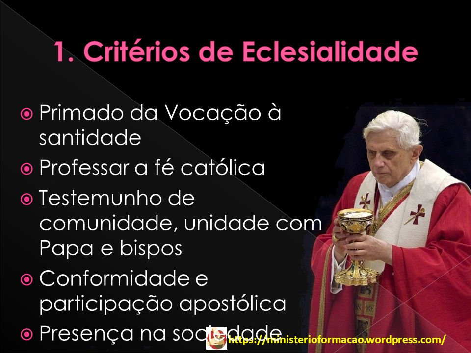 Primado da Vocação à santidade Professar a fé católica Testemunho de comunidade, unidade com Papa e bispos Conformidade e participação apostólica Pres