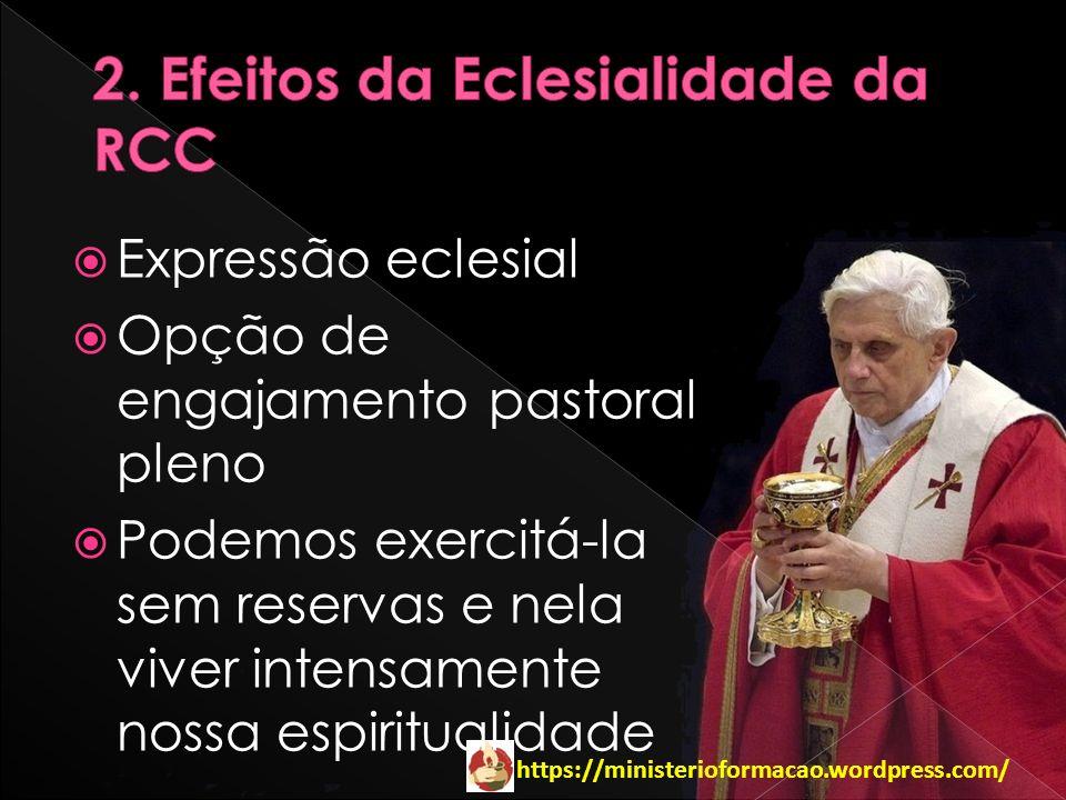 https://ministerioformacao.wordpress.com/ Expressão eclesial Opção de engajamento pastoral pleno Podemos exercitá-la sem reservas e nela viver intensa