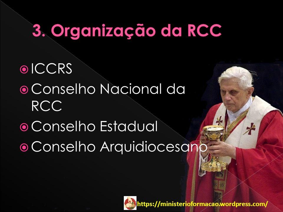 https://ministerioformacao.wordpress.com/ ICCRS Conselho Nacional da RCC Conselho Estadual Conselho Arquidiocesano