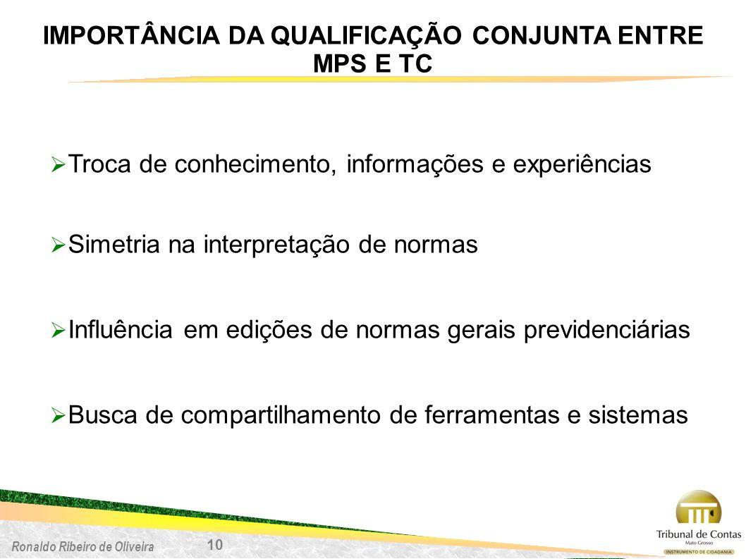 Ronaldo Ribeiro de Oliveira IMPORTÂNCIA DA QUALIFICAÇÃO CONJUNTA ENTRE MPS E TC 10 Troca de conhecimento, informações e experiências Simetria na inter